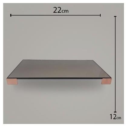 Bandeja Pé Quadrado Bronze C/ Rose 12x22