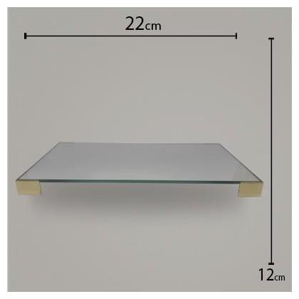 Bandeja Pé Quadrado Espelho C/ Dourado 12x22