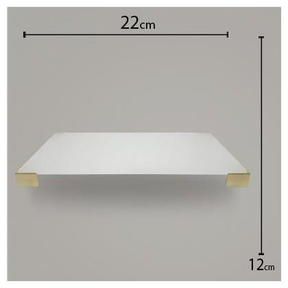 Bandeja Pé Quadrado Branco C/ Dourado 12x22